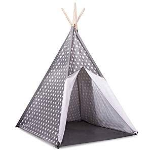 Kids Will Love This Playhouse Perfect Wigwam for Adventures Stunning Grey with White Star Pattern 160cm Tall 100/% Cotton Childrens Teepee Play Tent with Floor Mat