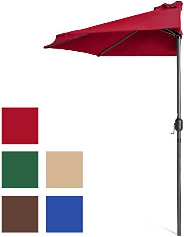 Best Choice Products 9ft Steel Half Patio Umbrella w Crank Mechanism – Red
