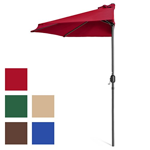 (Best Choice Products 9ft Steel Half Patio Umbrella for Backyard, Deck, Garden w/Crank Mechanism, UV- and Water-Resistant Fabric - Red)