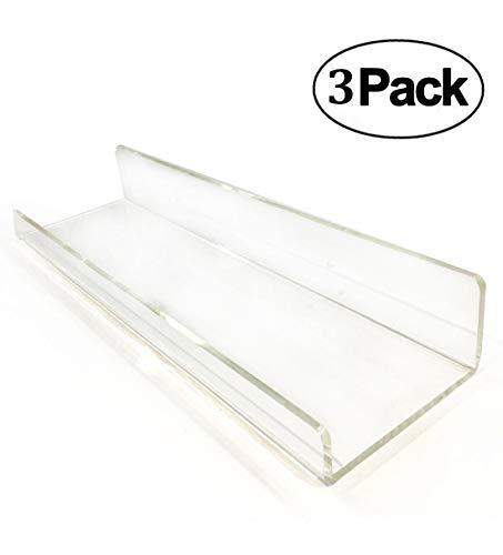 3 Shelf Wall Mount Glass - 3 Heavy Duty Clear Floating Shelf Set, Crystal Acrylic Bathroom Shelves, Shower Caddy, Nail Polish Women Makeup Organizer, Spice Rack Kids Room Wall Decor Display Bookshelf