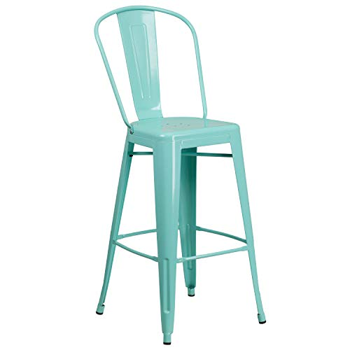 Flash Furniture 30'' High Mint Green Metal Indoor-Outdoor Barstool with - Mint Outdoor Chair