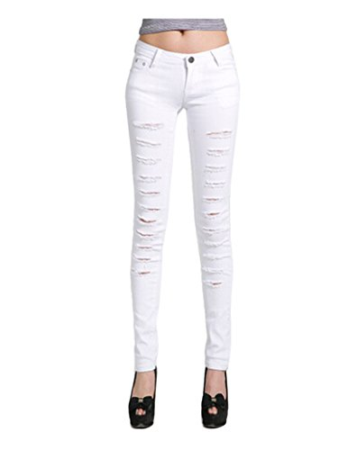New CA Mode Women's Denim Jeans Leggings Ripped Distressed Pants Trousers for cheap