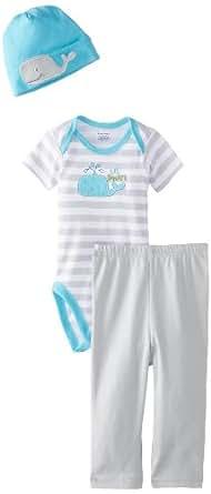 Gerber Baby Boys' 3 Piece Bodysuit, Cap & Pants Set (Baby) -Whale-3-6 Months