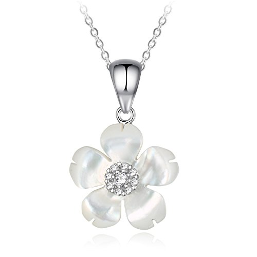(Sterling Silver Cubic Zirconia Shell Flower Pendant Necklace)
