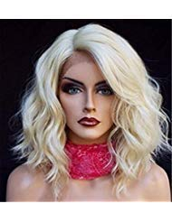 Wigsforyou New Fashion Lace Front Wig Women Short Platinum Blonde Wavy Lace Synthetic Hair -