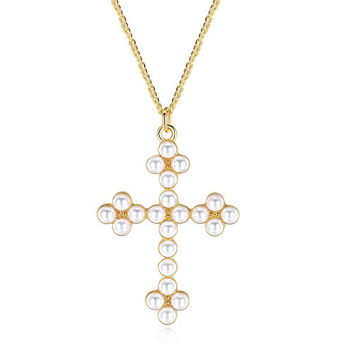 LEVIOLET Christmas Women Long Gold Cross Necklace Crucifix Pendant with 21.50