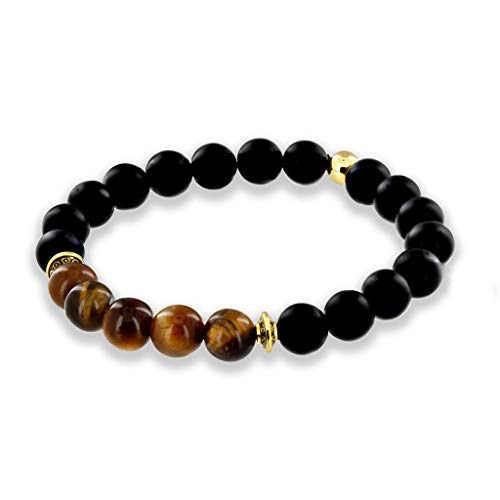 (Believe London Onyx & TE Gemstone Bracelet Healing Bracelet Chakra Bracelet Anxiety Crystal Natural Stone Men Women Stress Relief Reiki Yoga Diffuser Semi Precious (Onyx & Tiger Eye 6.5