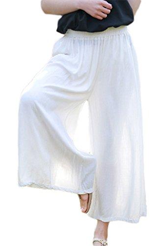 Soojun Women's Linen Loose Fit Elastic Waist Culottes Wide Leg Pants