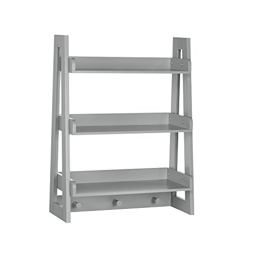 RiverRidge Wall Shelf with Hooks for Kids, Gray by RiverRidge Home Products
