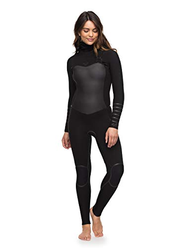 Roxy Womens Syncro+ 5/4/3MM Hooded Chest Zip Wetsuit Black - Lightweight Thermal Lining - Thermal Warm Heat Layer Layers