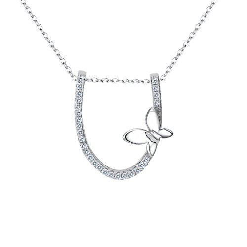 EVER FAITH Women's 925 Sterling Silver CZ Elegant Horseshoe Butterfly Adjustable Pendant Necklace Clear (Vintage Sterling Horseshoe Charm)