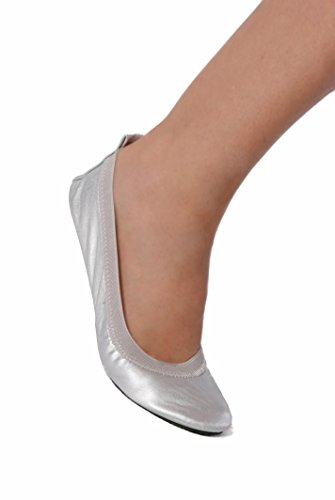 SECRET WEAPONS Fold Up Ballet Flats-Foldable Shoes-Travel Shoes with Purse & Tote Carry Bag.Colours Black+Silver+Champagne+Leopard!(Medium (Size 7-8), Silver)