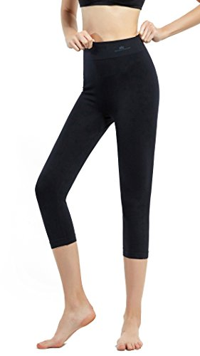 SKINEEZ Skincarewear Women's Capri Leggings High Waist Yoga Capri Pants Cropped Workout Leggings(S/M,Black)