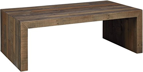 Ashley Sommerford Collection T975-1 Rectangular Cocktail Table with Reclaimed Pine Solids and long Butcher Block Pattern in Washed Brown price