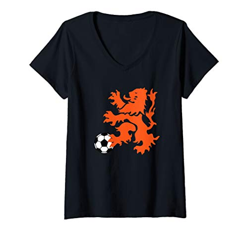 Womens Netherlands Lion Rampant, Soccer Ball V-Neck T-Shirt