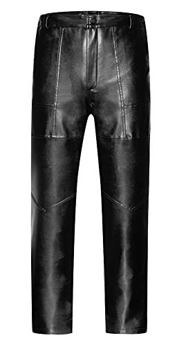 HENGMING Mens Casual Straight Leg Leather Jeans Side Zipper Skinny Pants Gothic Metallic Tight Leggings, Lambswool Inner XXXXXL