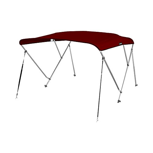 MSC Standard 3 Bow Bimini Boat Top Cover with Rear Support Pole and Storage Boot (Burgundy, 3 Bow 6'L x 46