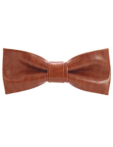 JEMYGINS Brown Pu Leather Bow Tie Pre-tied Bowtie for Men (Brown Leather Bow)