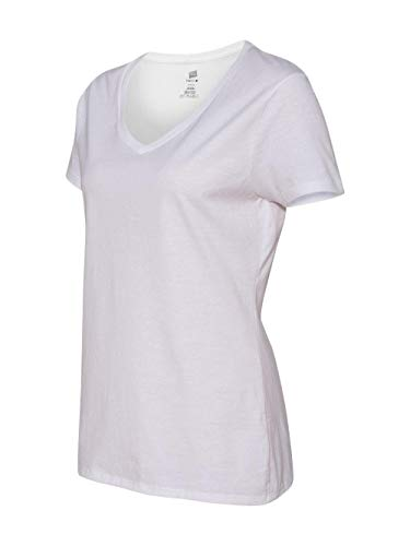 (Hanes Women's Short Sleeve Nano-T V-Neck Tee White Large)