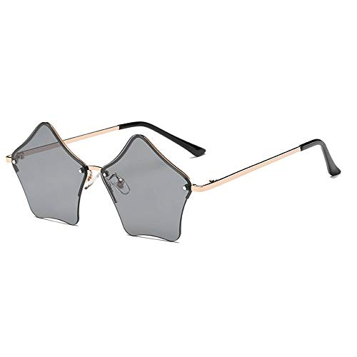 MINCL/Super Cute Star Shape Rimless Sunglasses Metal Frame Transparent Candy Color Eyewear - Metal Transparent Sunglasses