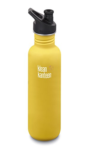 Klean Kanteen 27oz Classic Stainless Steel Water Bottle with Klean Coat, Single Wall and Leak Resistant Sport Cap 3.0 - Lemon Curry