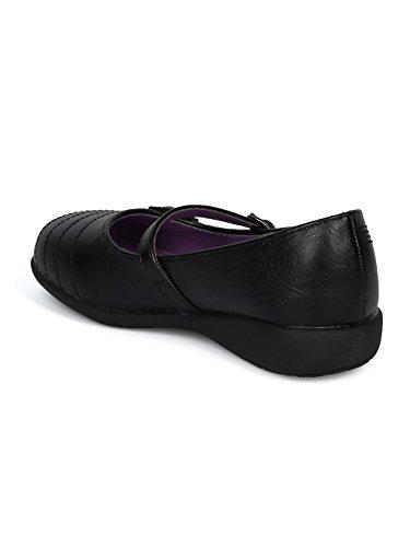 Schola Sammi-02 Girls Leatherette Round Toe Flower Applique Mary Jane Uniform Shoe HD42 - Black Leatherette (Size: Big Kid 3) by Alrisco (Image #2)