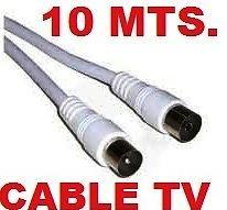 Cable Coaxial antena TV television de 10 m metros con terminales macho y hembra