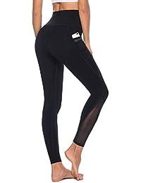 Women's High Waist Mesh Yoga Leggings with Side Pockets, Tummy Control Workout Squat-Proof Yoga Pants