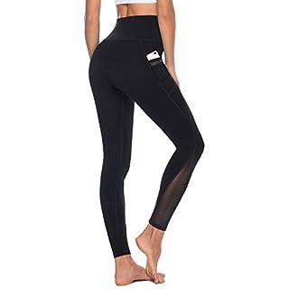 AFITNE Yoga Pants for Women High Waisted Mesh Leggings Tummy Control Athletic Workout Leggings with Pockets Gym Black - XL