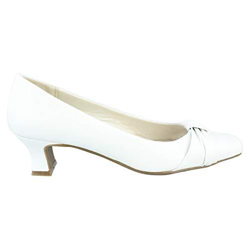 Easy Street Women's, Waive Low Heel Dress Pumps White 7.5 M