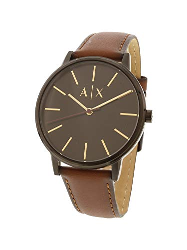 Armani Exchange Men's Cayde Stainless Steel Analog-Quartz Watch with Leather Strap, Brown, 20 (Model: -