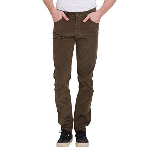 bossini Gracious New Year Mens Slim Fit Solid Corduroy Pants Brown 29,Waist 30