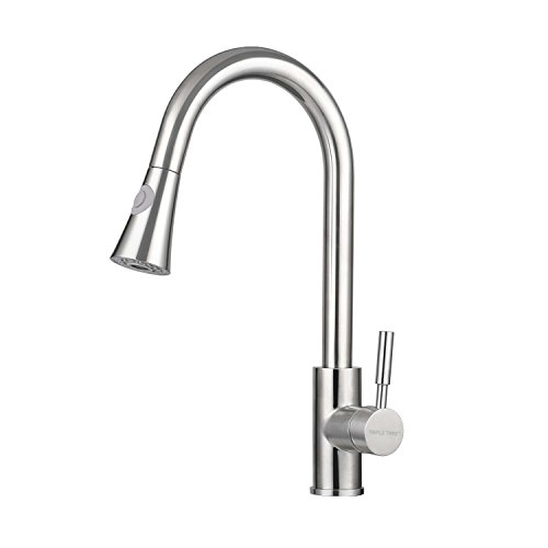 Kitchen Faucet, TRIPLE TREE Stainless Steel Single Handle Pull Down Kitchen  Sink Faucet With High Arc 360 Rotatable Two Function Nozzle, Lead Free