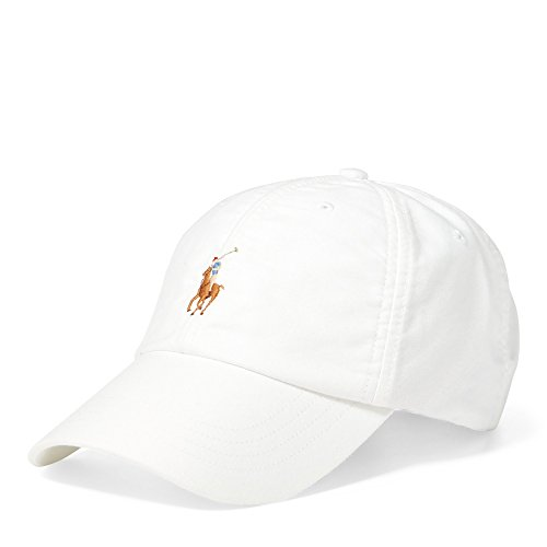 Polo Ralph Lauren Men`s Cotton Oxford Baseball Cap (White/Multicolored Pony, One (Multi Colored Pony)
