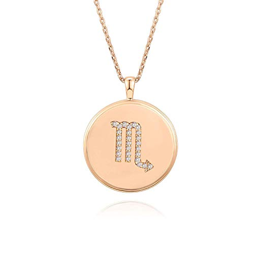 PAVOI 14K Rose Gold Plated Astrology Constellation Horoscope Zodiac Disc Necklace 16-18