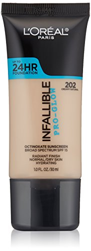 L'Oreal Paris Cosmetics Infallible Face Pro-Glow Foundation, Creamy Natural, 1 Fluid Ounce