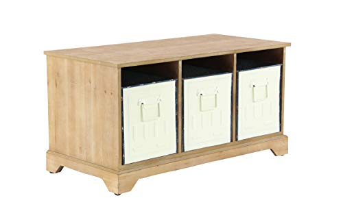 Deco 79 42943 Rustic Bench with Storage Bins, 14