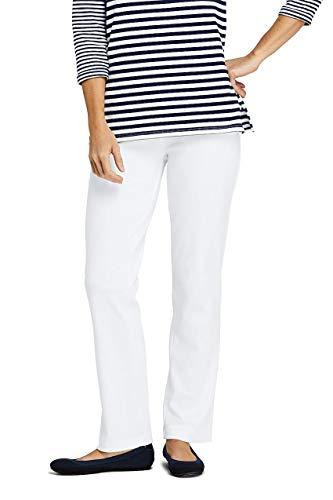 (Lands' End Women's Petite Sport Knit Elastic Waist Pants High Rise White )
