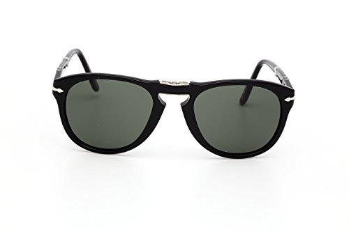 Persol Men's 0PO0714 95/58 52 Aviator Sunglasses,Black Frame/Green Lens 52mm (Eye Wear Shop)
