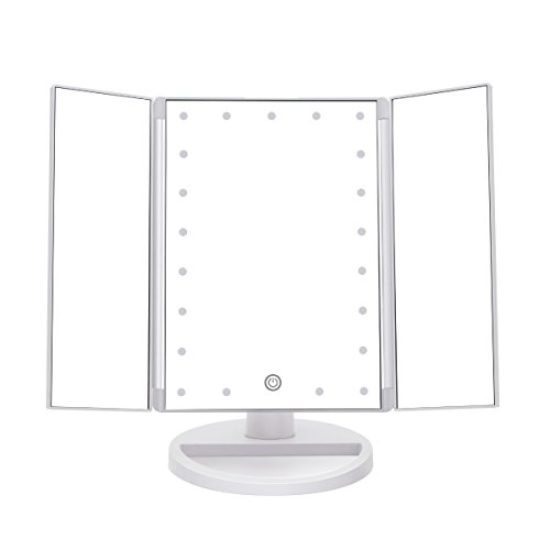 IMIGY Makeup Mirror with Lights, Battery and USB Powered Portable 21 Pcs LED Lights Vanity Mirror with 180 Degree Free Rotation, High-Definition Bathroom Cosmetic Mirror, White