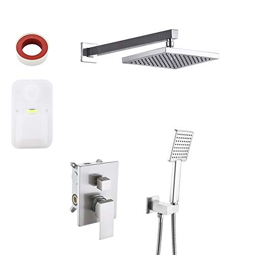 KES Pressure Balancing Showering System Rough-in Body and Trim Kit Handheld and Rainfall Mixer Shower Head Combo Set Modern Square Brushed Nickel, KES-XB6223-BN