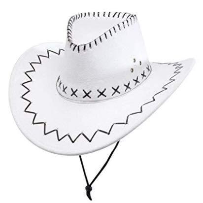 PICCOLI MONELLI Cappello Cowboy Uomo texano Sceriffo Adatto Anche per  Carnevale Colore Bianco 80f9ddb5b92a