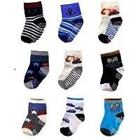 kit 12 pares de meia meninos cores variadas anti derrapante aprender a andar de 6 a 12 meses