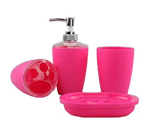 Trendy Design Minimalist Plastic 4 Pieces Bathroom Accessory Set - Pink