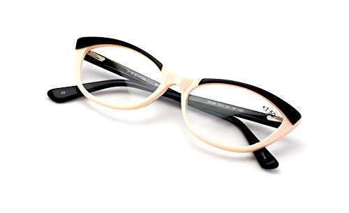 Women Cateye Slim Vintage Fashion Acetate Reading Glasses - 2 Tone Pointed Tip Reader (Beige, - Glass Pointed