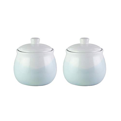 American Atelier Oasis Mint Canister Set 2-Piece Large Ceramic Jars 60oz Each Chic Design With Lids for Cookies, Candy, Coffee, Flour, Sugar, Rice, Pasta, Cereal & More