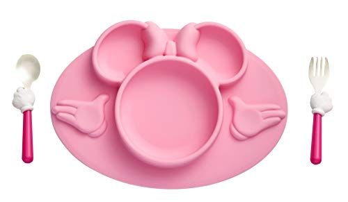 The First Years Disney Minnie Mouse Silicone Placemat with Stainless Steel Fork & Spoon 3 Piece Set, Pink