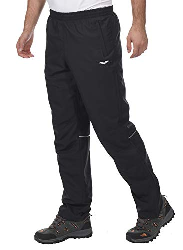 MIER Men's Sports Pants Warm-Up Pants with Zipper Pockets for Workout, Gym, Running, Training, Black, M