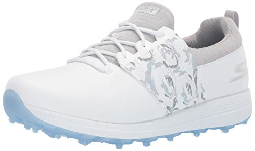 Skechers Women's Eagle Spikeless Golf Shoe, White/Gray Floral, 6 W US