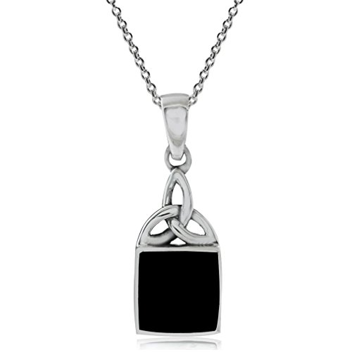- Silvershake Created Onyx Inlay 925 Sterling Silver Triquetra Celtic Knot Pendant with 18 Inches Chain Necklace